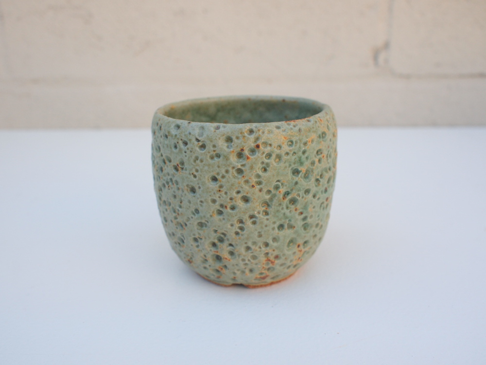 "#073 Pale green/blue meteor pot 3"" h x 3.5"" d $35"