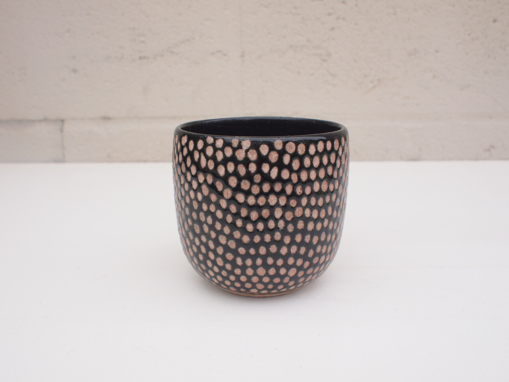 "#075  Black spotted cup  3.5"" h x 3.5"" d  $40  SOLD OUT"