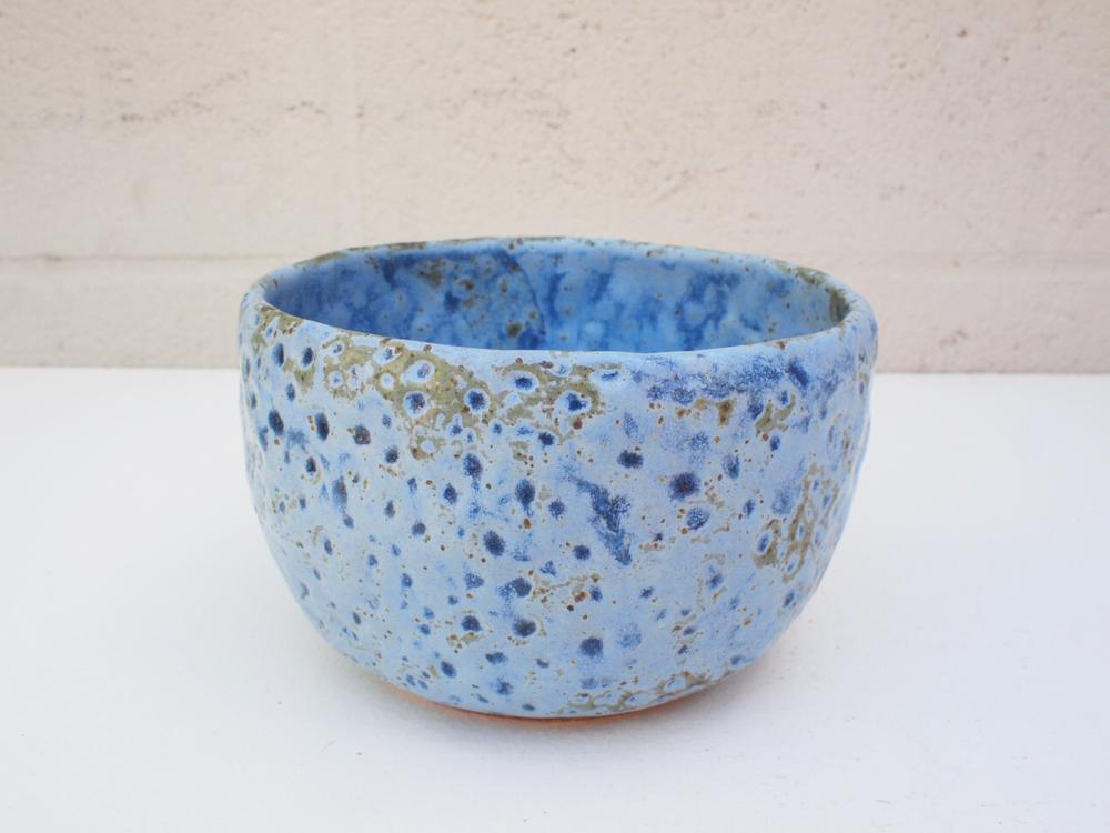 "#107 Blue meteor pot 3.5"" h x 5.75"" d $60"