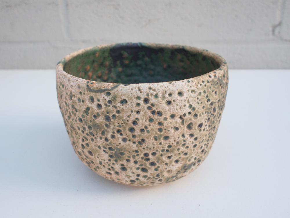 "#112 Mixed/green meteor pot 4"" h x 6"" d $60"