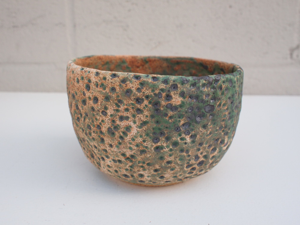 "#114 Mixed/green meteor pot 4"" h x 6"" d $60"