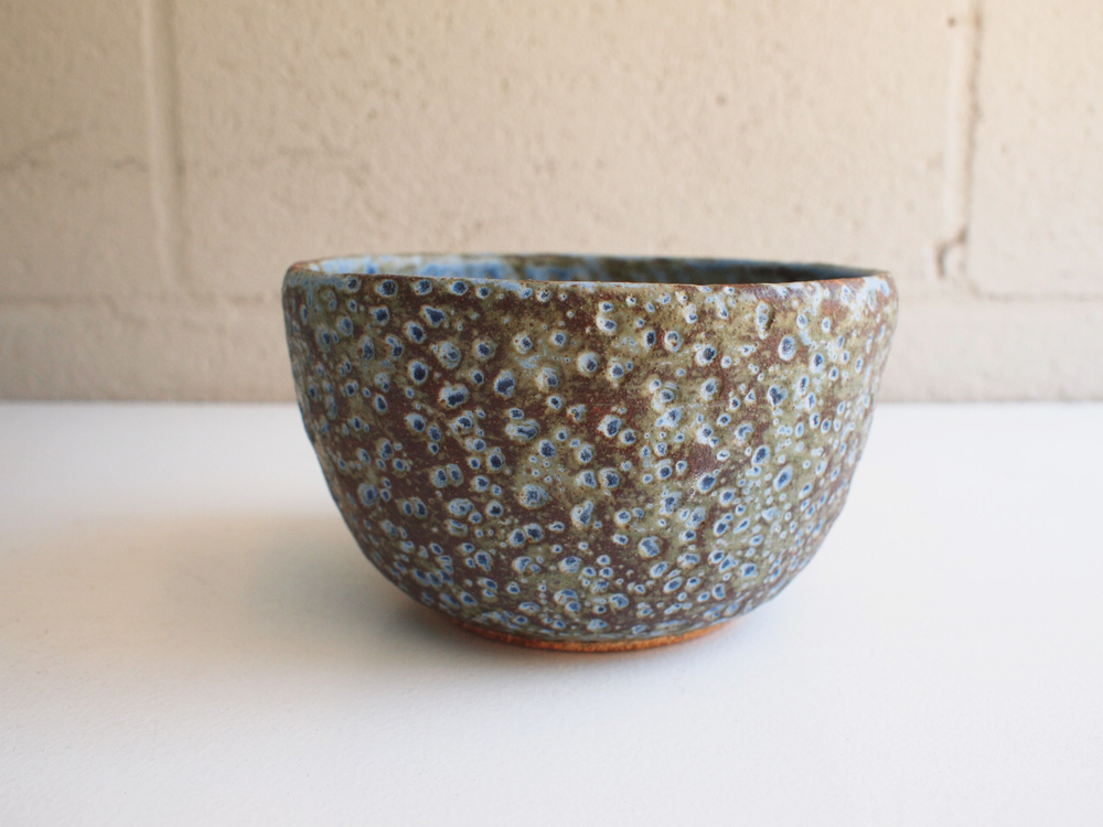 """#118 Blue/green/brown meteor pot 3.75"""" h x 6.5"""" d $60"""