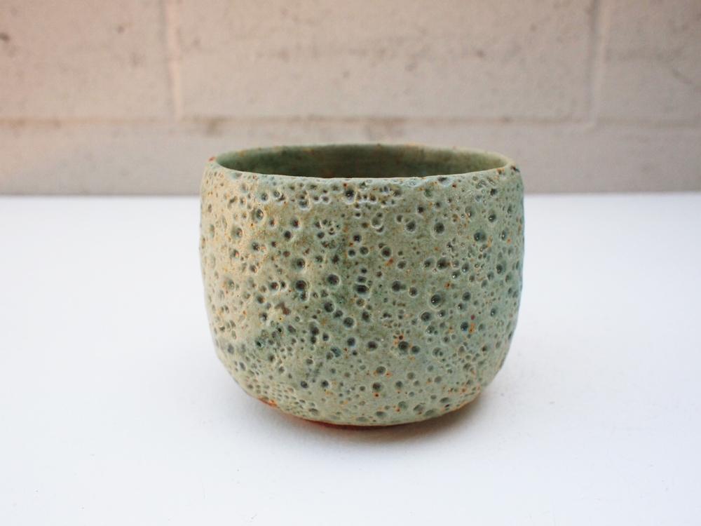 "#134 Pale blue green meteor pot 4"" h x 5"" d $55"