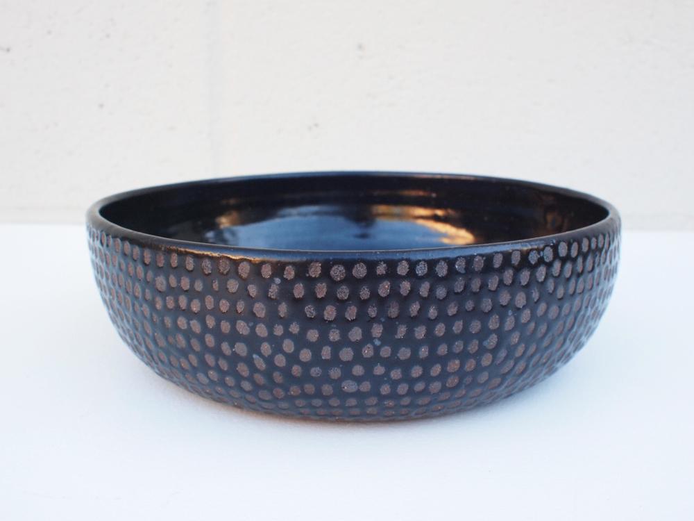 """#153 Black dot bowl 2.5"""" h x 8.75"""" d $110"""
