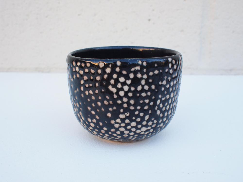 """#087 Black dot cup 2.5"""" h x 3.25"""" d $25"""