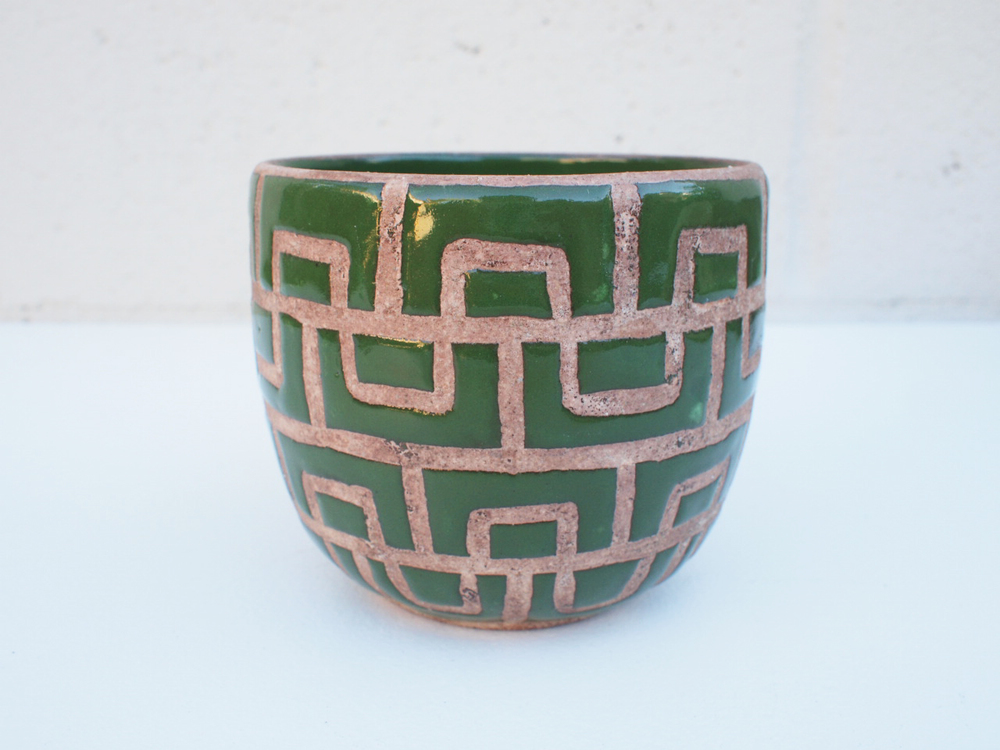 "#090 Green masonry pot 3.75"" h x 4.25"" d $60"