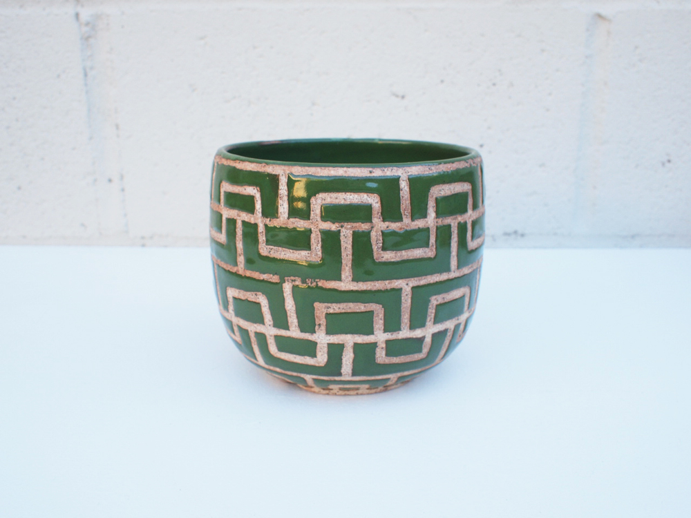 "#092 Green masonry pot 4.5"" h x 5.25"" d $80"