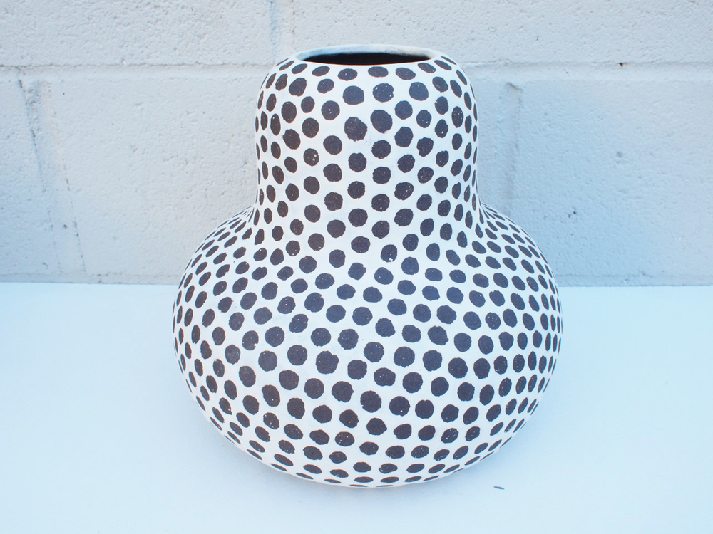 "#162 Matte b/w spotted gourd vase 10"" h x 10.5"" d N/A"
