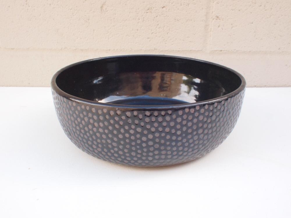 """#148 Black dot bowl 3.25"""" h x 9.75"""" d $125"""