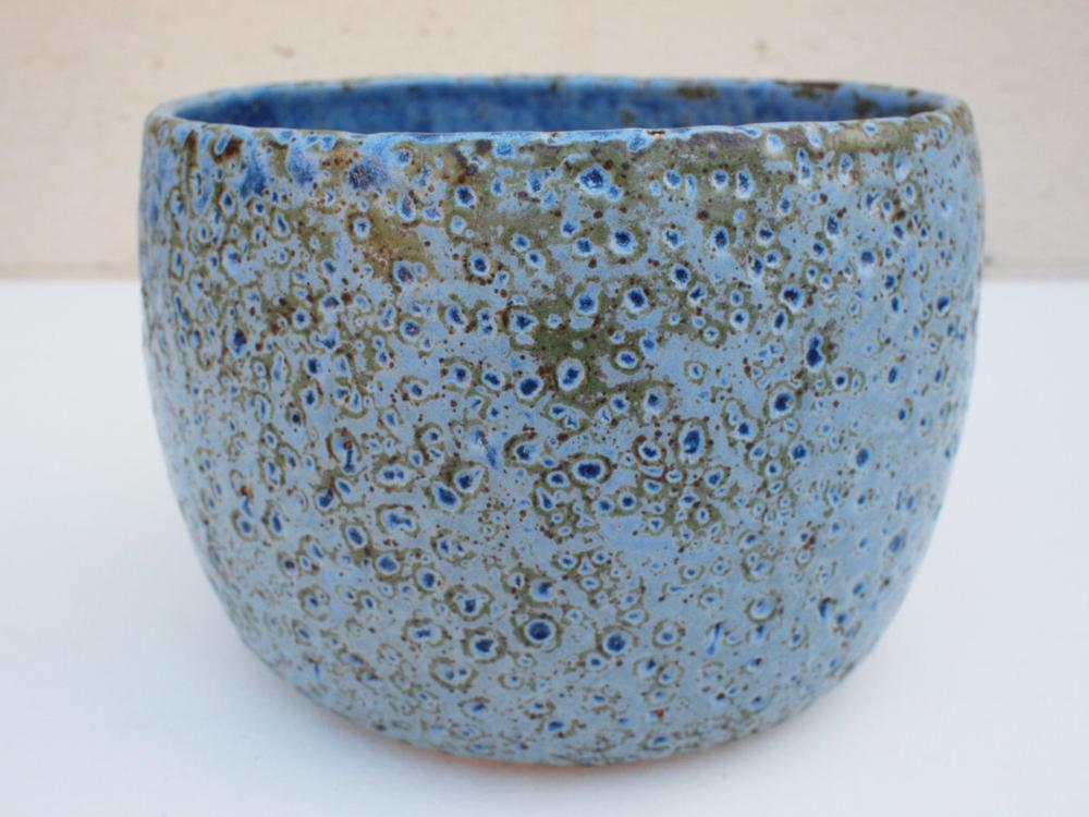 """#164 Large blue meteor pot 5.5"""" h x 8"""" d $145"""