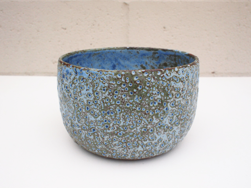 "#176 Blue/green meteor pot 4.75"" h x 7.5"" d $125 SOLD OUT"