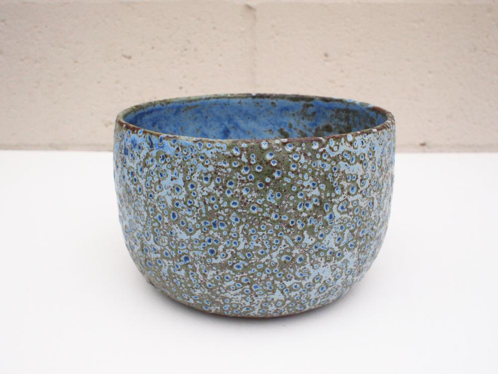 """#176 Blue/green meteor pot 4.75"""" h x 7.5"""" d $125"""