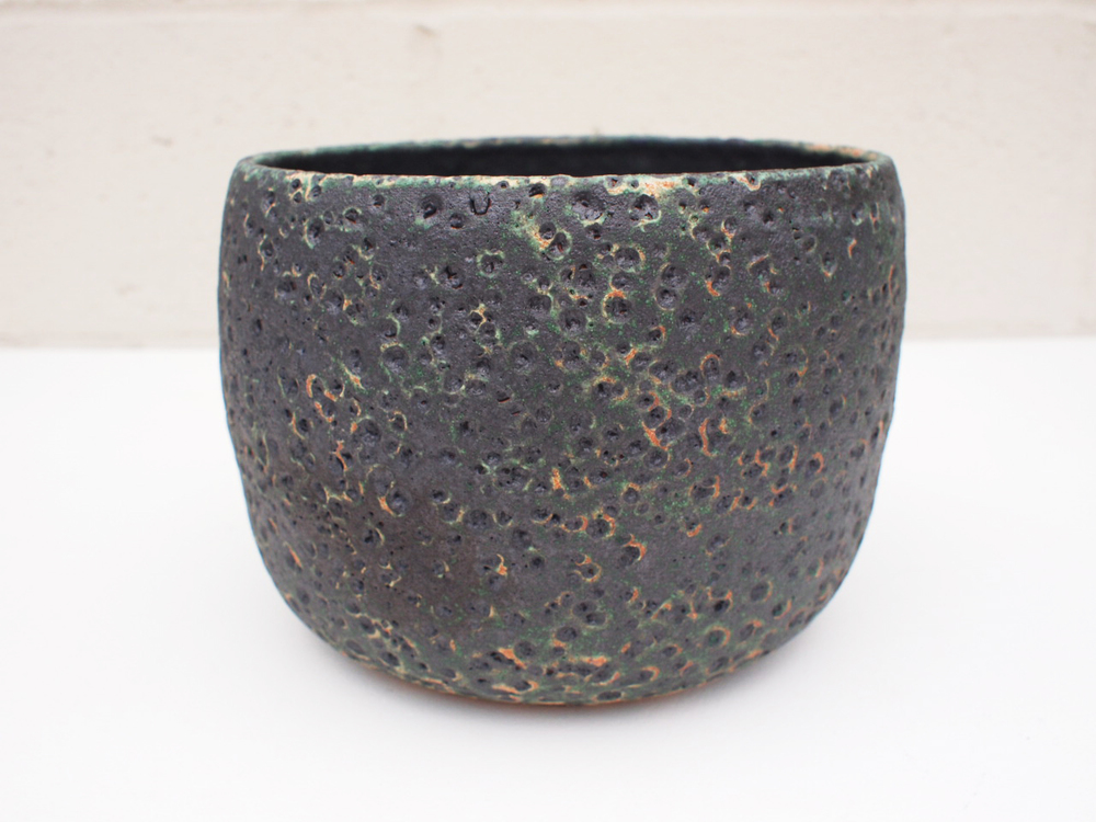 """#177 Large mixed/black meteor pot 6"""" h x 7.5"""" d $145SOLD OUT"""
