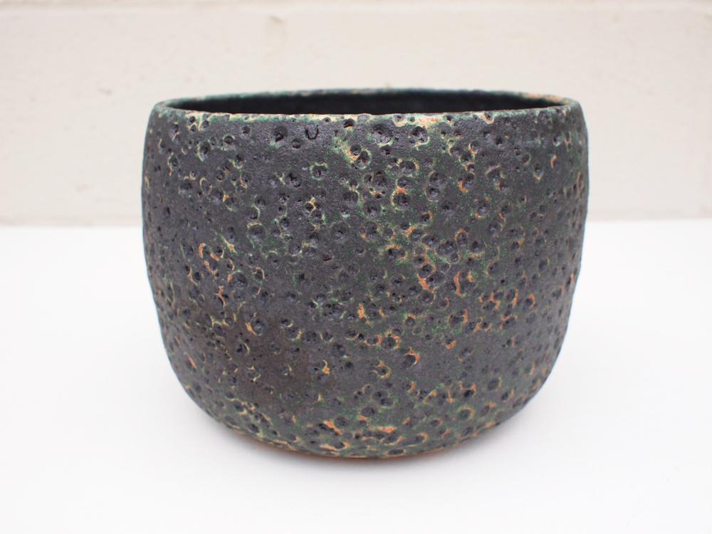"""#177 Large mixed/black meteor pot 6"""" h x 7.5"""" d $145"""
