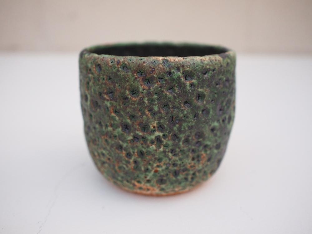 "#178 Mixed/green meteor pot 3"" h x 3.5"" d $35"