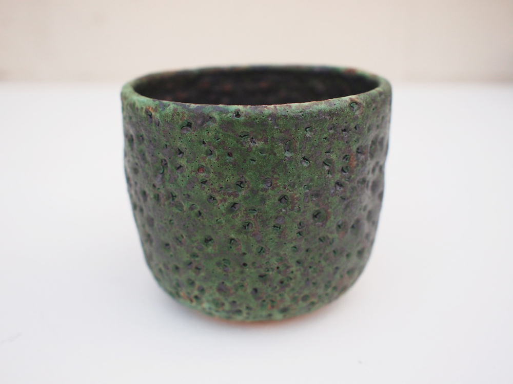 "#179 Mixed/green meteor pot 3"" h x 3.5"" d $35"
