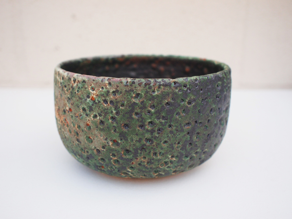 "#180 Mixed/green meteor pot 3.5"" h x 6"" d $60"