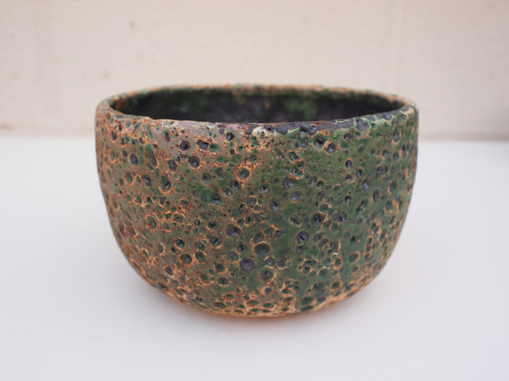 "#181 Mixed/green meteor pot 4"" h x 6.5"" d $65"
