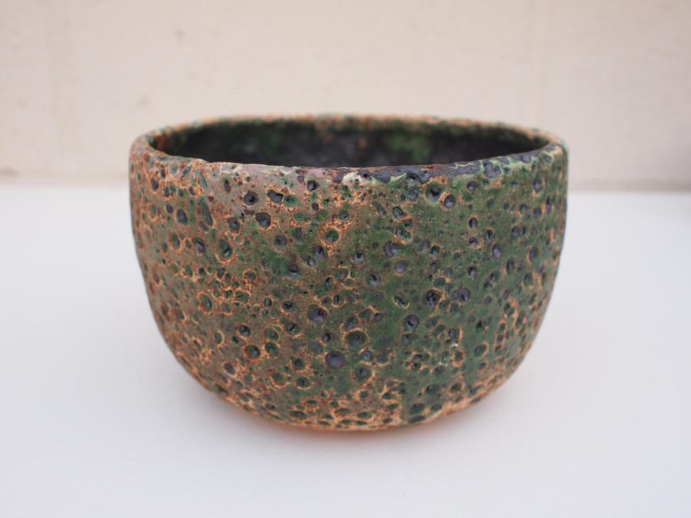 "#181 Mixed/green meteor pot 4"" h x 6.5"" d $65"