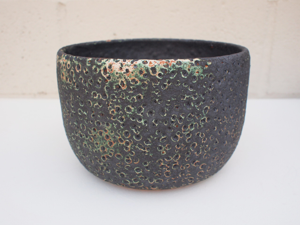 "#182 Large green/black meteor pot w/ drainage hole 5.75"" h x 8.5"" d $145"