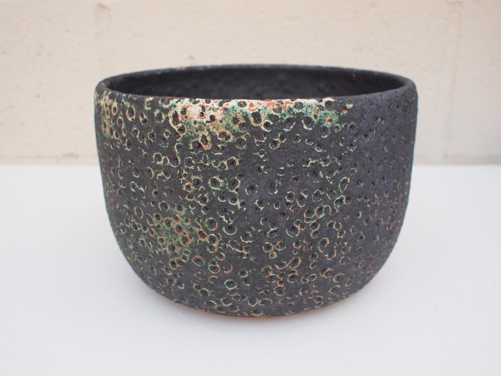 "#182 Large green/blackmeteor pot w/ drainage hole 5.75"" h x 8.5"" d $145"