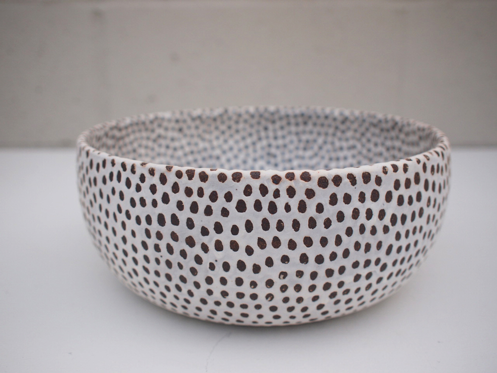 "#189  Matte b/w spotted bowl (int/ext) 3.75"" h x 9.25"" d $175"