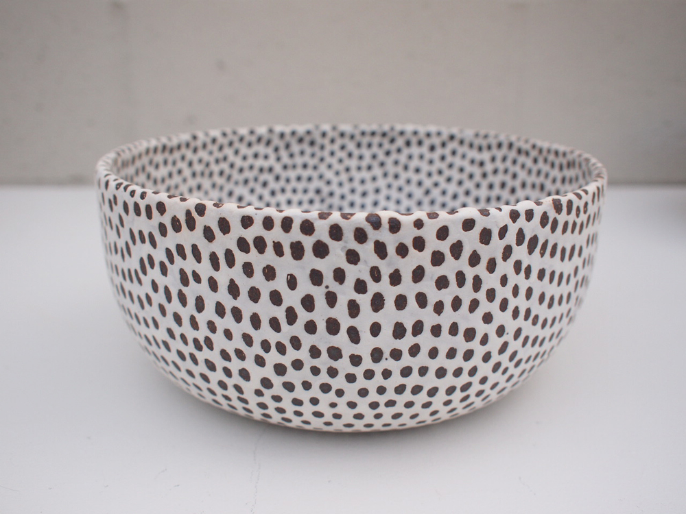 "#190  Matte b/w spotted bowl (int/ext) 4"" h x 9.5"" d $180"