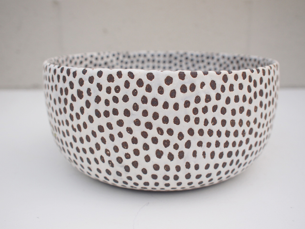 "#191 Matte b/w spotted bowl (int/ext) 4"" h x 8.75"" d $225 SOLD OUT"