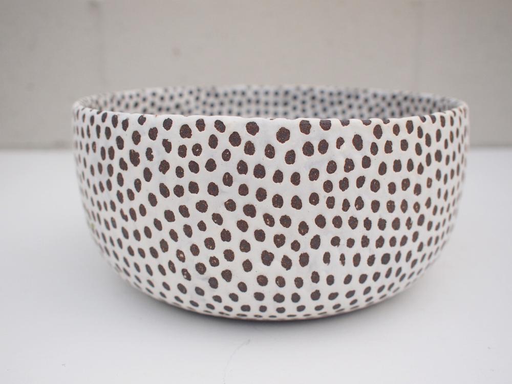 "#191Matte b/w spotted bowl (int/ext) 4"" h x 8.75"" d $170"