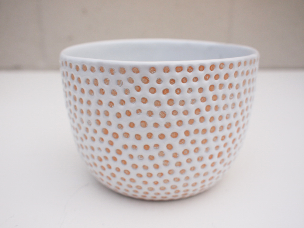 "#193 White dot pot 4"" h x 5.75"" d $80"