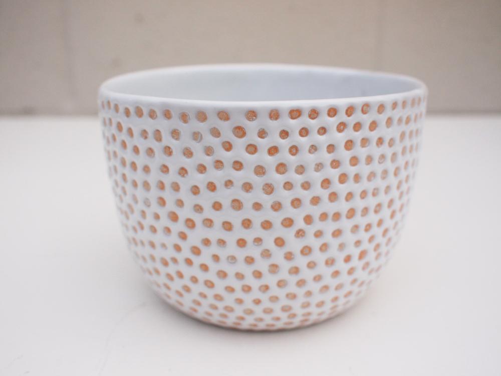"""#193 White dot pot 4"""" h x 5.75"""" d $80"""