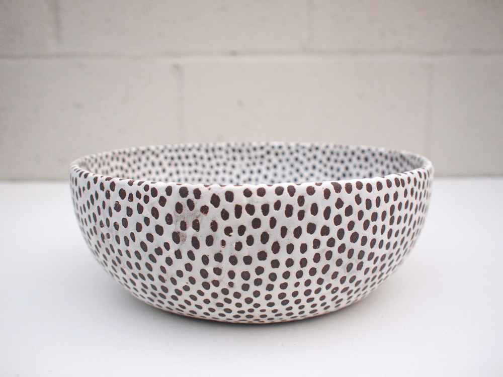 "#195 Matte b/w bowl (int/ext)  3.75"" h x 10.25"" d $225 SOLD OUT"