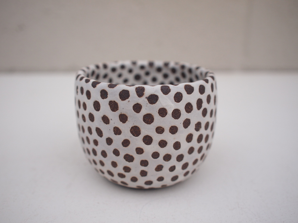 "#201 Matte b/w pot (int/ext)  2.5""h x 3.25""d $35"