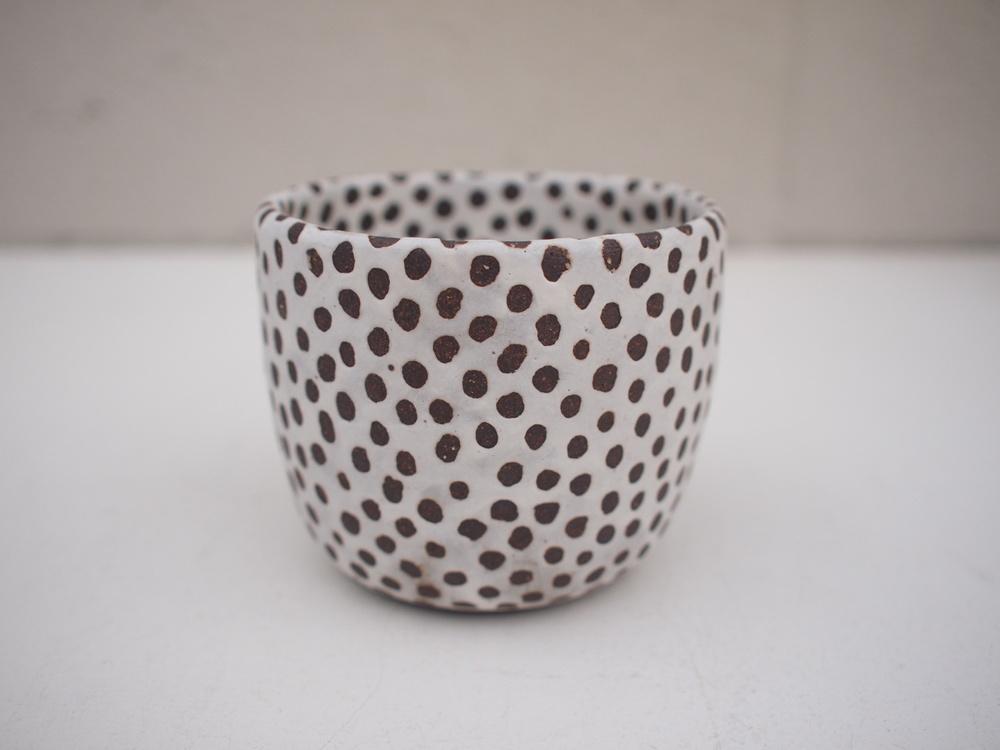 """#200 Matte b/w cup (int/ext) 3"""" h x 3.5""""d $40"""