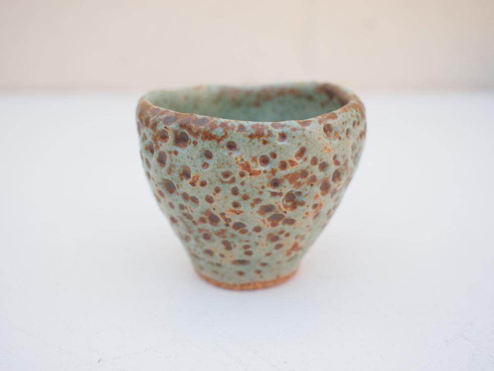 "#205 Pale blue green meteor cup 2.25"" h x 2.5"" d $20"