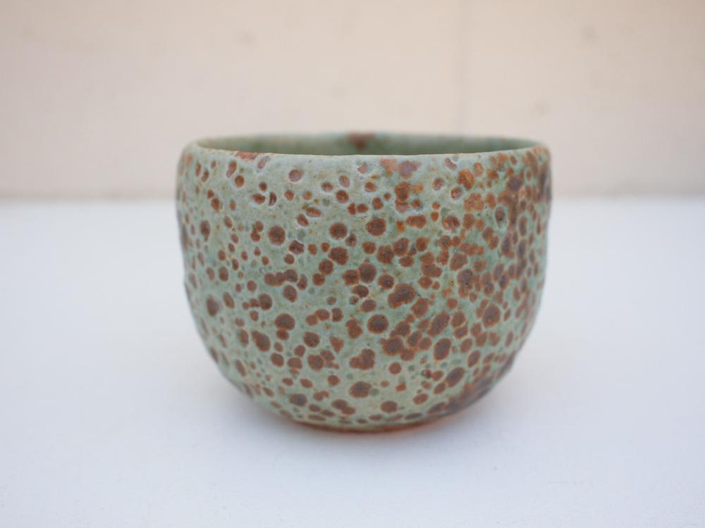 "#206 Pale blue green meteor cup 3.25"" h x 4"" d $40"