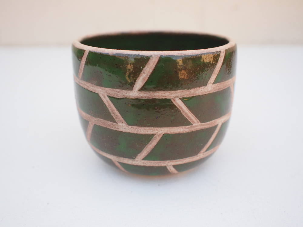 "#208 Green masonry pot 3.75"" h x 3.75"" d $40"