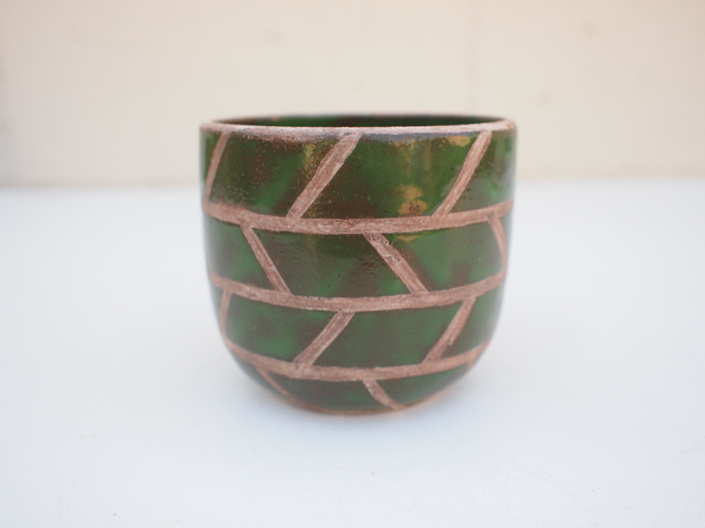 "#207 Green masonry pot 3.75"" h x 3.75"" d $40"