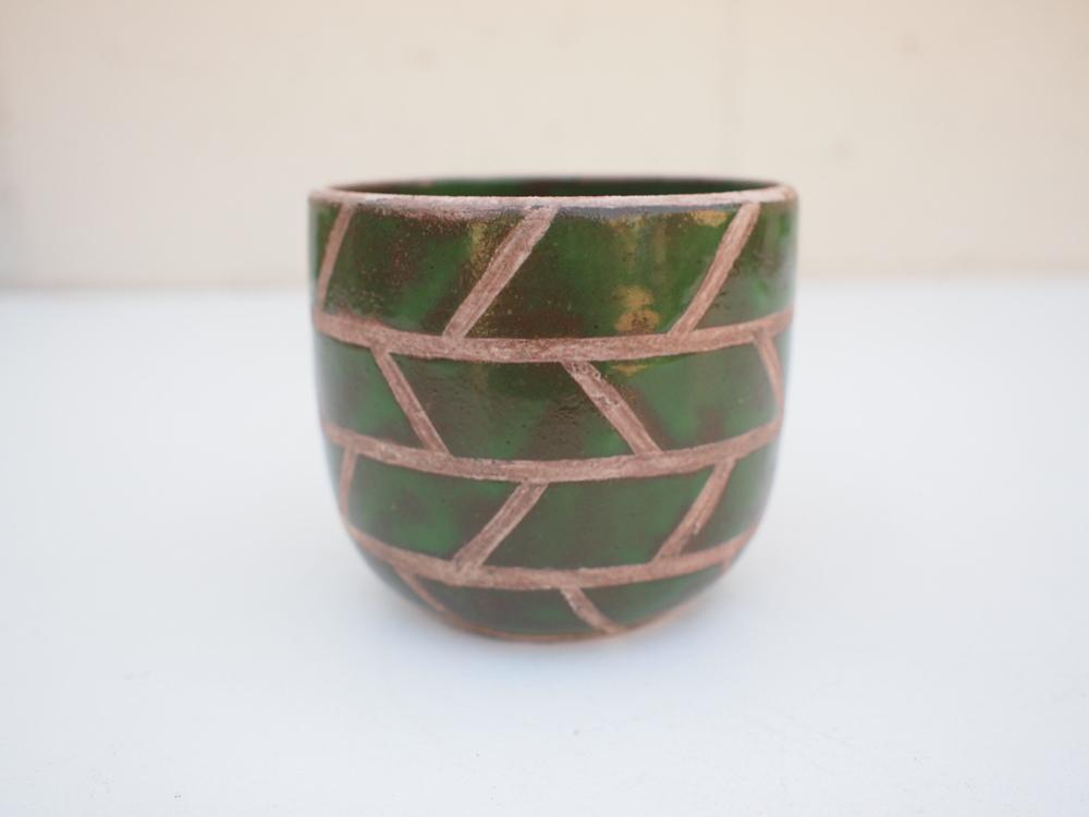 "#207 Green masonry pot 3.75"" h x 3.75"" d $40"