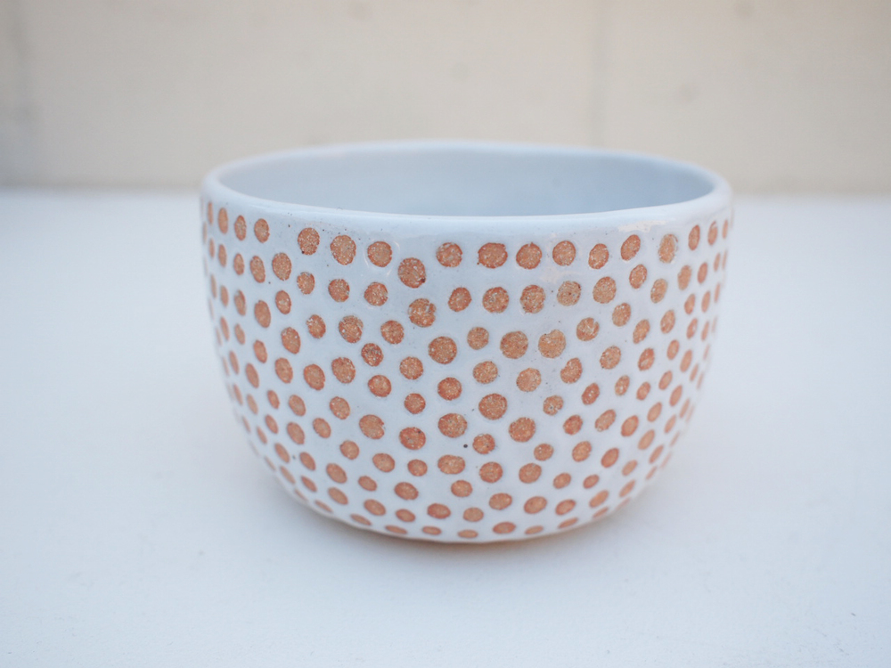 "#209 White spotted pot 3.25"" h x 4.75"" d $50"