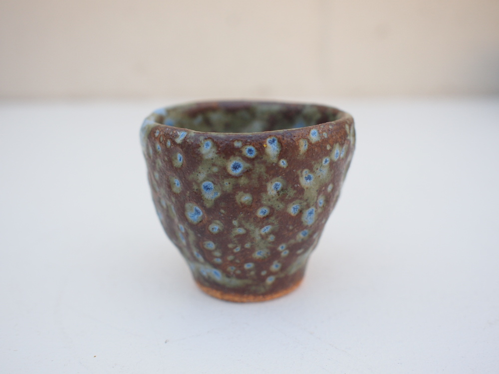 """#211 Mixed/blue meteor cup 2"""" h x 2.5"""" d $20"""