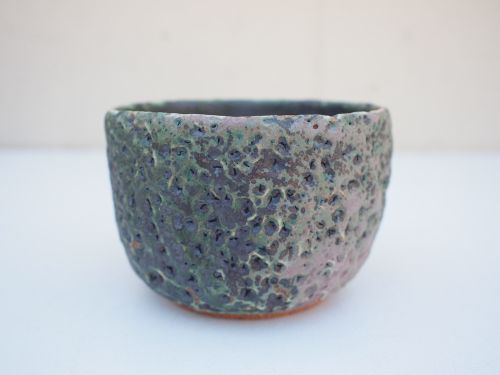 "#212 Mixed/green meteor pot 3"" h x 4"" d $35"