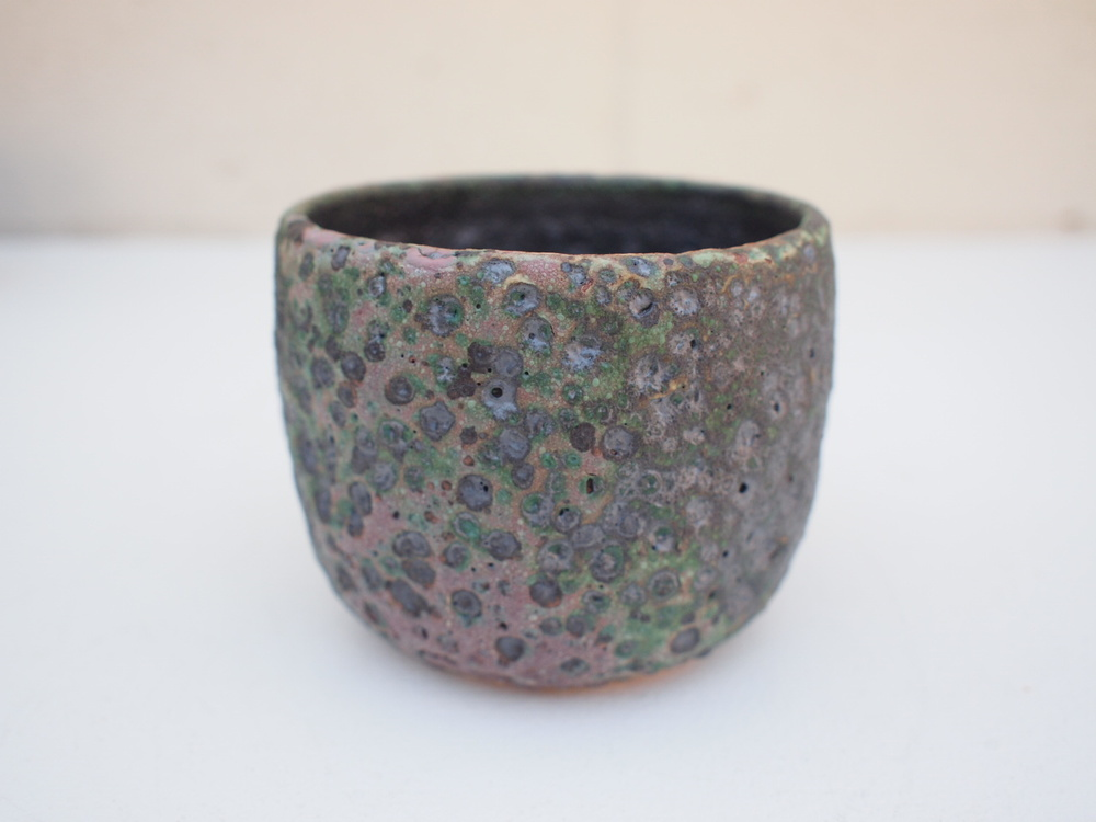 "#213 Mixed/green meteor pot 3"" h x 3.75 $35"