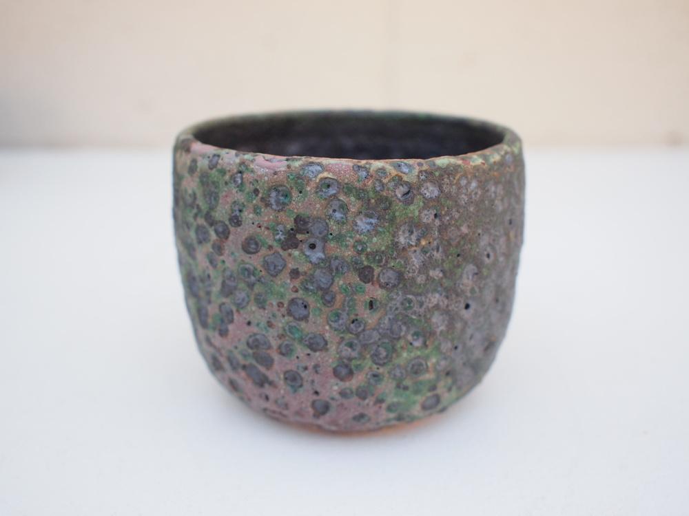 "#213 Mixed/green meteor pot 3"" h x 3.75 $35"