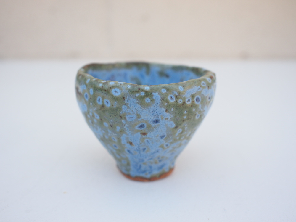 """#215 Blue/green meteor cup 2.25"""" h x 2.75"""" d $20"""