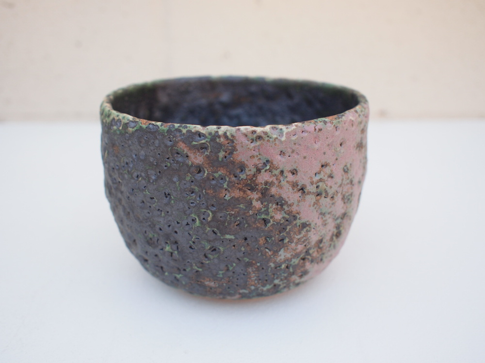 "#217 Mixed/green/lavender meteor pot 3.75"" h x 5.25"" d $55 SOLD OUT"