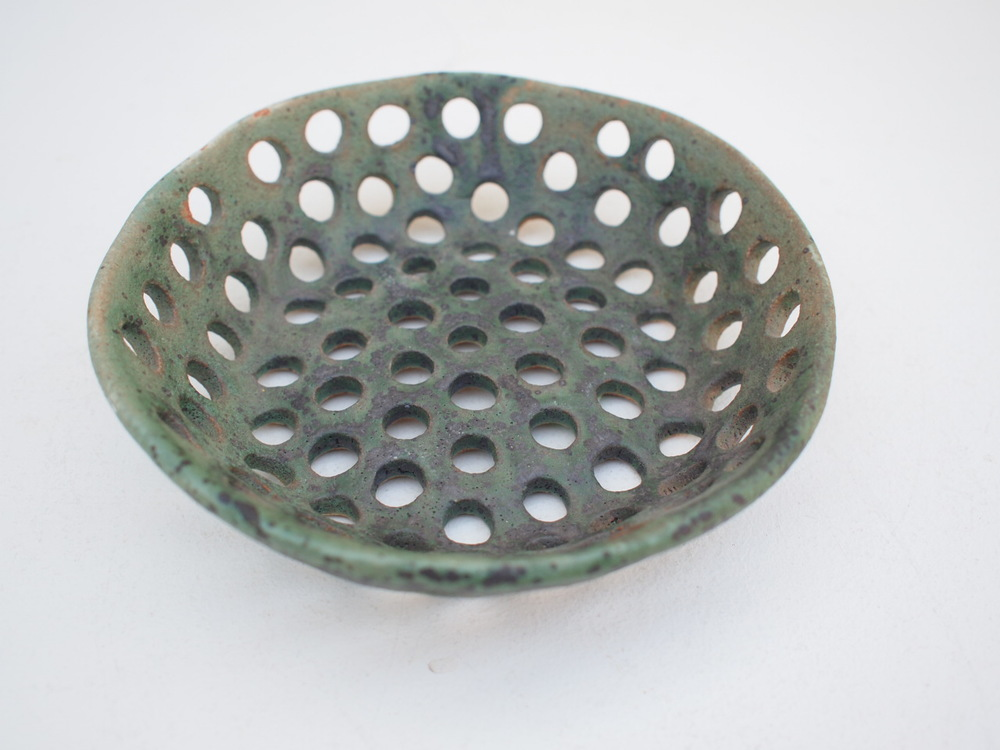 "#047  Green colander 1.5"" h x 6"" d $85 SOLD OUT"