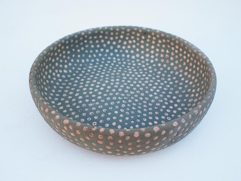 """#220 Sage dot bowl 2.25"""" h x 8.5"""" d $120"""