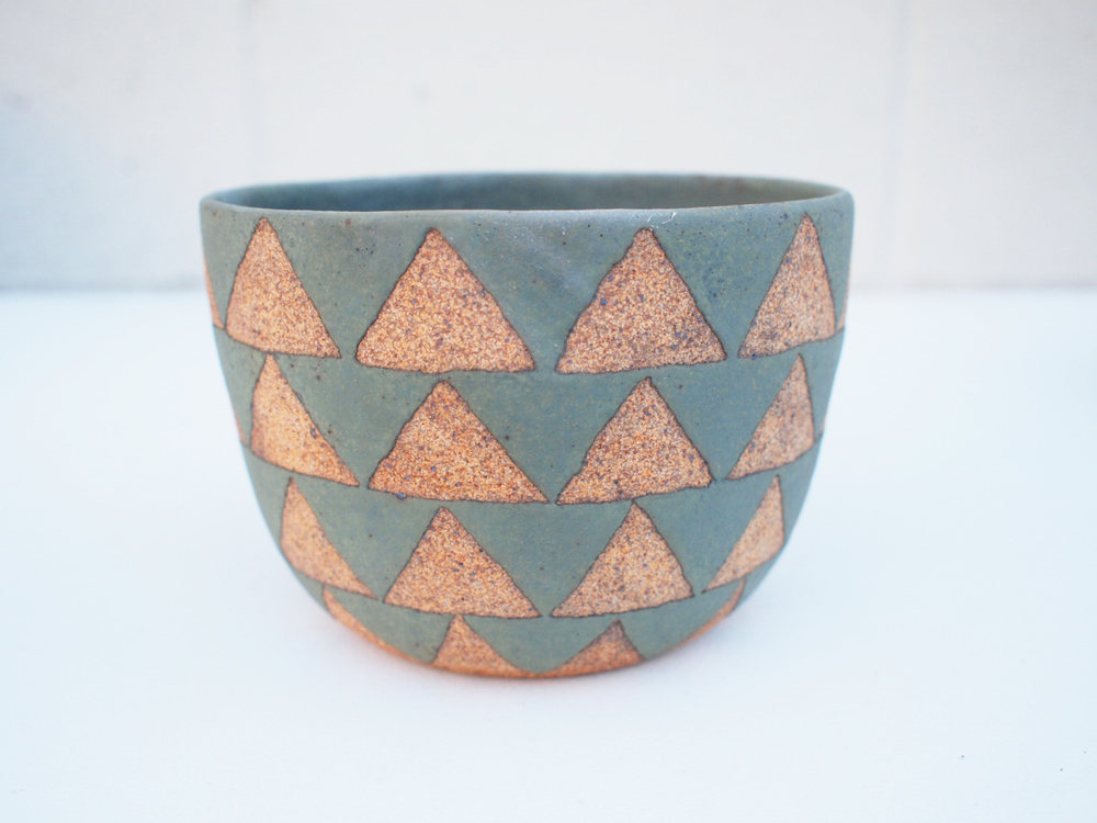 "#219 Sage triangle pot 4"" h x 5.75"" d $110"