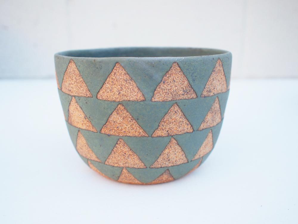 "#219Sage triangle pot 4"" h x 5.75"" d $110"